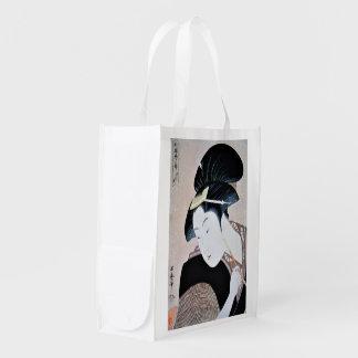 深く忍恋,歌麿 Deeply Hidden Love, Utamaro, Ukiyoe Grocery Bag