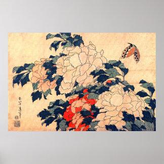 牡丹と蝶, 北斎 Peonies and Butterfly, Hokusai, Ukiyoe Poster