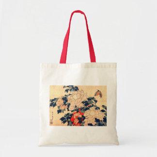 牡丹と蝶, Peonies y mariposa, Hokusai, Ukiyoe del 北斎 Bolsas De Mano