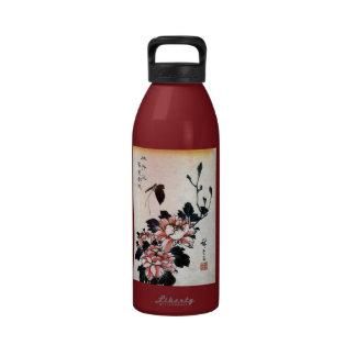 牡丹に蝶, 広重 Peonies and Butterfly, Hiroshige, Ukiyo-e Water Bottle