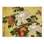 牡丹に蝶 Peonies Butterfly 葛飾北斎 Katsushika Hokusai Postcard