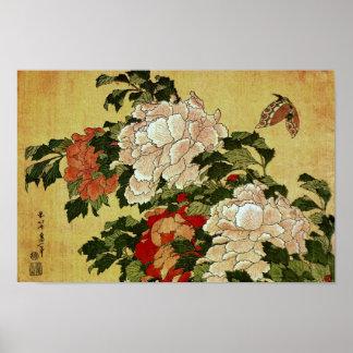牡丹に蝶 Peonies Butterfly 葛飾北斎 Katsushika Hokusai Print