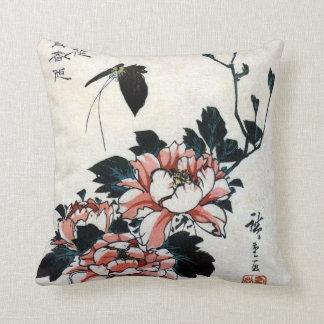 牡丹に蝶, Peonies y mariposa, Hiroshige, Ukiyo-e del Cojín
