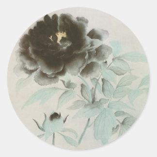 牡丹, 速水御舟 Peony, Gyoshū, Jpanese Art Classic Round Sticker