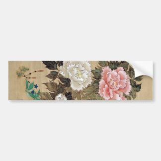 牡丹 Peony del 其一 Kiitsu arte de Japón Etiqueta De Parachoque