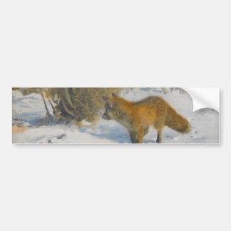 狐と冬 風景 バンパーステッカー