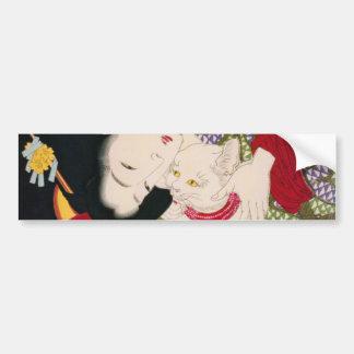 猫が好き, 芳年 I Love Cats, Yoshitoshi, Ukiyoe Bumper Sticker