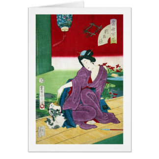 猫と女, 国周 Cat and Woman, Toyohara Kunichika, Ukiyo-e Card