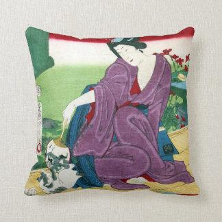 猫と女, 国周 Cat and Woman, Toyohara Kunichika, Ukiyo-e Throw Pillow