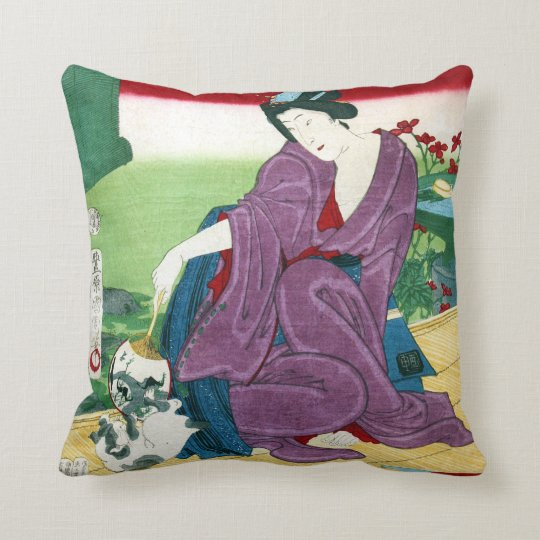 猫と女, 国周 Cat and Woman, Toyohara Kunichika, Ukiyo-e Throw Pillow