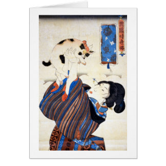 猫と女, 国芳 Cat and Woman, Kuniyoshi, Ukiyo-e Card