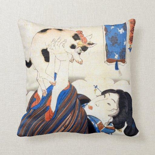 猫と女, 国芳 Cat and Woman, Kuniyoshi, Ukiyo-e Throw Pillows