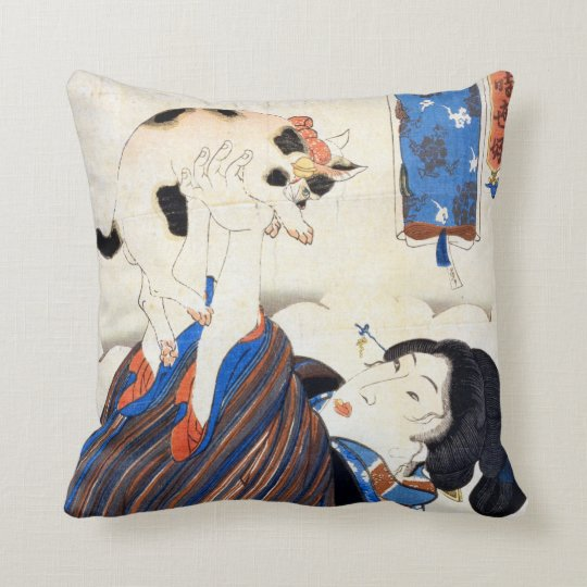 猫と女, 国芳 Cat and Woman, Kuniyoshi, Ukiyo-e Throw Pillow