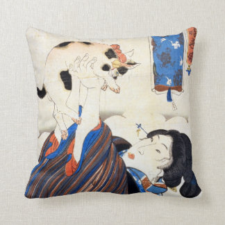 猫と女, 国芳 Cat and Woman, Kuniyoshi, Ukiyo-e Throw Pillow