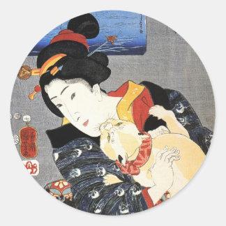 猫と女, 国芳 Cat and Woman, Kuniyoshi, Ukiyoe Classic Round Sticker