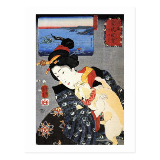 猫と女, 国芳 Cat and Woman, Kuniyoshi, Ukiyoe Postcard