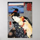 猫と女, 国芳 Cat and Woman, Kuniyoshi, Ukiyoe Poster