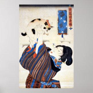 猫と女, gato y mujer, Kuniyoshi, Ukiyo-e del 国芳 Posters