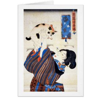 猫と女 gato y mujer Kuniyoshi Ukiyo-e del 国芳 Tarjetas