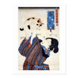 猫と女, gato y mujer, Kuniyoshi, Ukiyo-e del 国芳 Tarjeta Postal