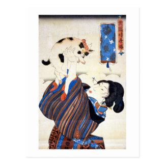 猫と女 gato y mujer Kuniyoshi Ukiyo-e del 国芳 Tarjeta Postal