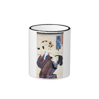 猫と女, gato y mujer, Kuniyoshi, Ukiyo-e del 国芳 Taza De Café