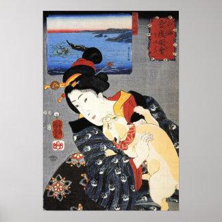 猫と女, gato y mujer, Kuniyoshi, Ukiyoe del 国芳 Impresiones