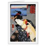 猫と女, gato y mujer, Kuniyoshi, Ukiyoe del 国芳 Tarjetas