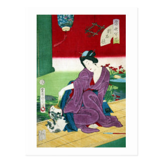 猫と女, gato y mujer, Toyohara Kunichika, Ukiyo-e del Tarjeta Postal