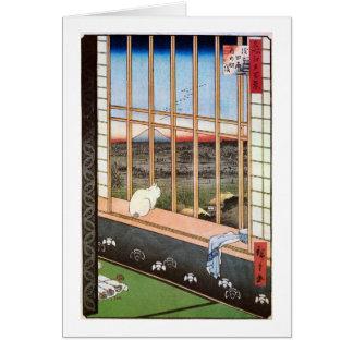 猫と富士山 広重 Cat and Mount Fuji Hiroshige Greeting Card