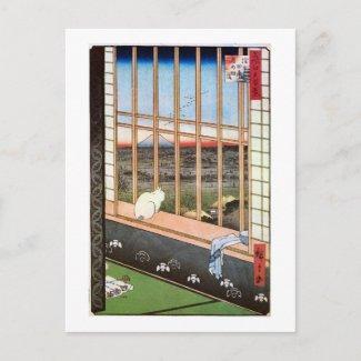 猫と富士山、広重猫および富士山、Hiroshige postcard