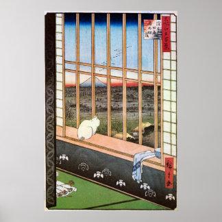 猫と富士山, gato y el monte Fuji, Hiroshige del 広重 Posters