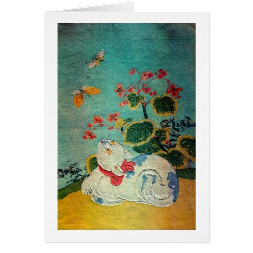 猫と蝶, 春信 Cat and Butterfly, Harunobu Greeting Card
