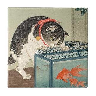 猫と金魚, 古邨 Cat & Goldfish, Koson, Ukiyo-e Ceramic Tile