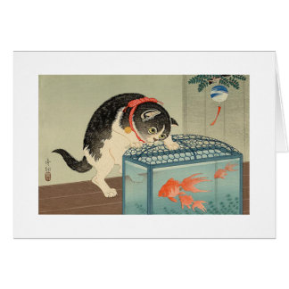 猫と金魚, 古邨 Cat & Goldfish, Koson, Ukiyo-e Greeting Card
