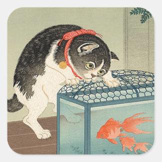猫と金魚, 古邨 Cat & Goldfish, Koson, Ukiyo-e Square Sticker