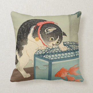 猫と金魚, 古邨 Cat & Goldfish, Koson, Ukiyo-e Throw Pillow
