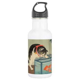 猫と金魚, 古邨 Cat & Goldfish, Koson, Ukiyo-e Water Bottle