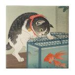 猫と金魚, gato y Goldfish, Koson, Ukiyo-e del 古邨 Azulejo