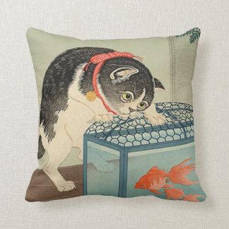 猫と金魚, gato y Goldfish, Koson, Ukiyo-e del 古邨 Cojín
