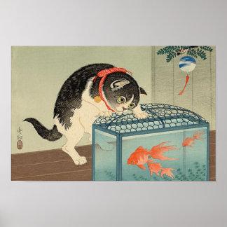 猫と金魚 gato y Goldfish Koson Ukiyo-e del 古邨 Poster