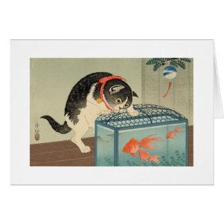 猫と金魚, gato y Goldfish, Koson, Ukiyo-e del 古邨 Tarjeta De Felicitación