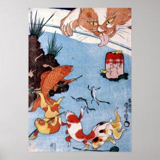 猫と金魚, gato y Goldfish, Kuniyoshi, Ukiyo-e del 国芳 Impresiones