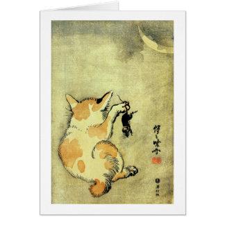 猫と鼠, 暁斎 Cat and Mouse, Kyōsai, Ukiyo-e Card