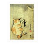 猫と鼠, gato y ratón, Kyōsai, Ukiyo-e del 暁斎 Tarjetas Postales