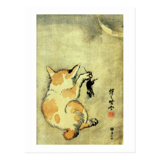 猫と鼠, gato y ratón, Kyōsai, Ukiyo-e del 暁斎 Postal