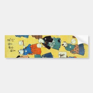 猫の曲芸師, 国芳 Acrobat of the Cats, Kuniyoshi, Ukiyo-e Bumper Sticker