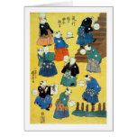 猫の曲芸師, 国芳 Acrobat of the Cats, Kuniyoshi, Ukiyo-e Greeting Card