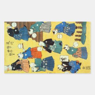猫の曲芸師, 国芳 Acrobat of the Cats, Kuniyoshi, Ukiyo-e Rectangular Sticker
