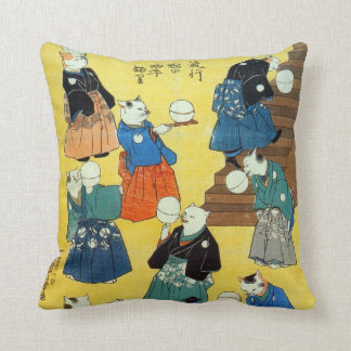 猫の曲芸師, 国芳 Acrobat of the Cats, Kuniyoshi, Ukiyo-e Throw Pillow